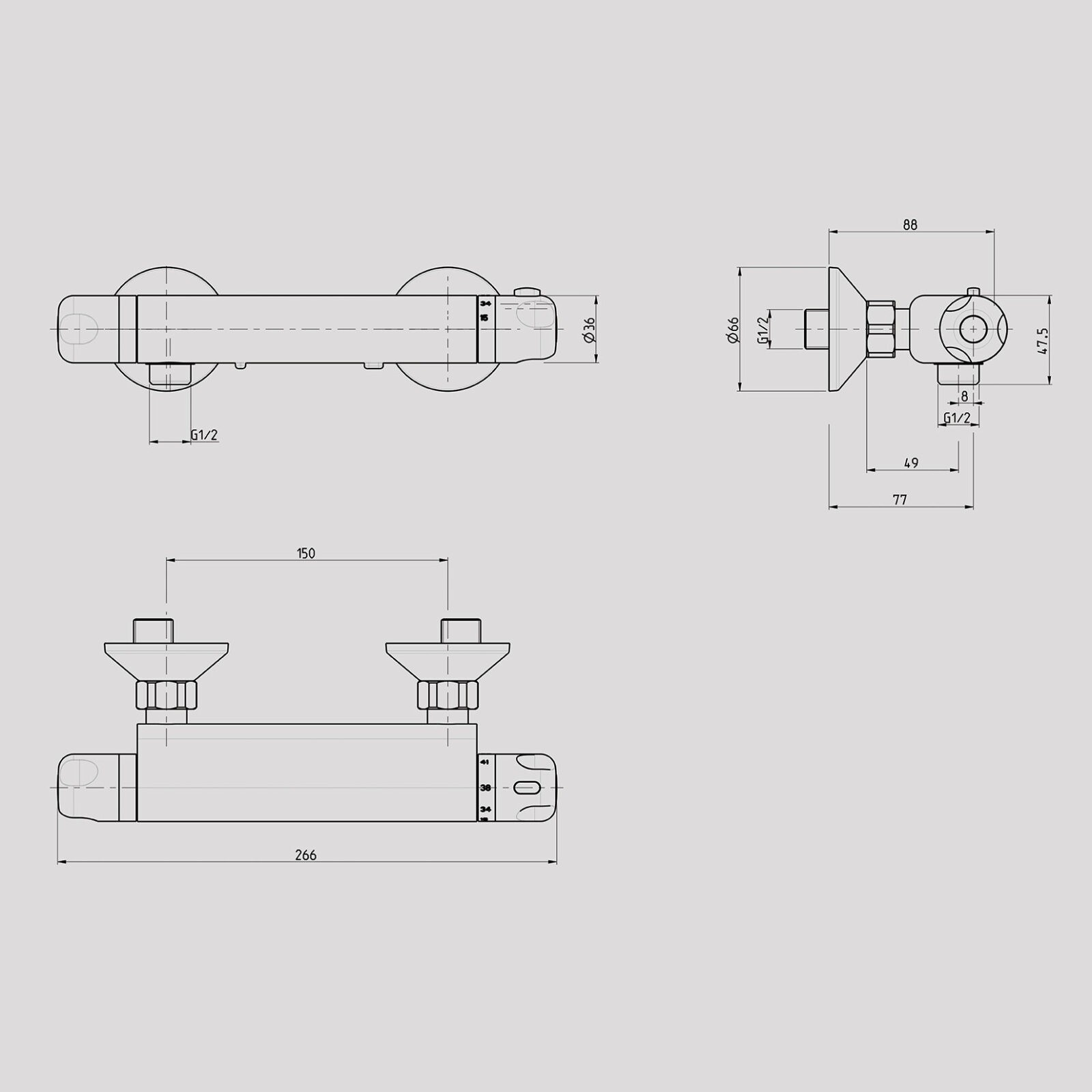 Exposed Wall Mounted Thermostatic Bar Shower Valve Inver Bathrooms Diagram